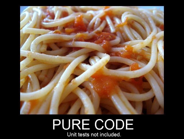 spaghetti code - pure code unit tests not included