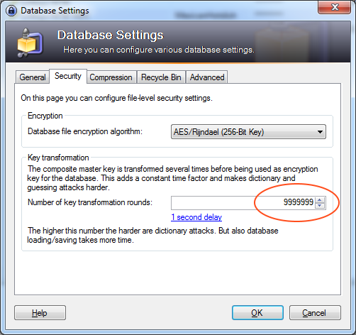 KeePass Transform Key Settting