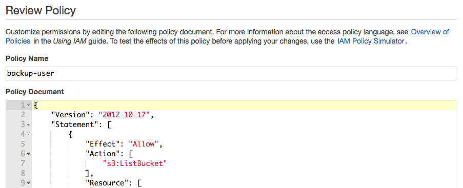 AWS IAM inline policy document