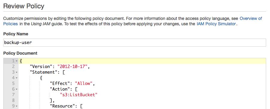 AWS IAM inline policy document