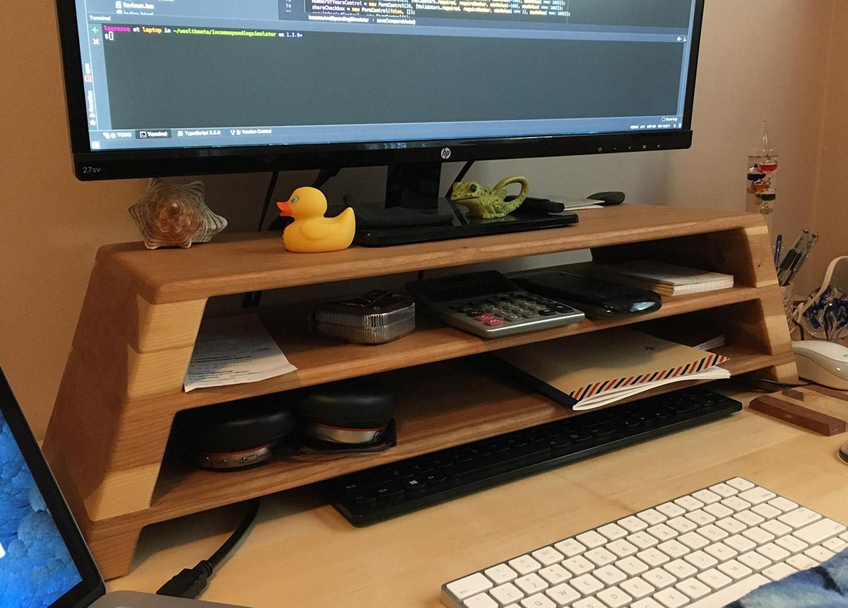 monitor riser for software developer desk