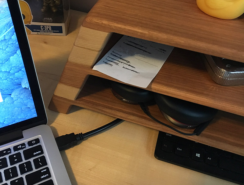 monitor riser hides hdmi cable